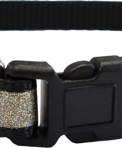 CC4063 Reflective Glitter Cat Collar Black LR