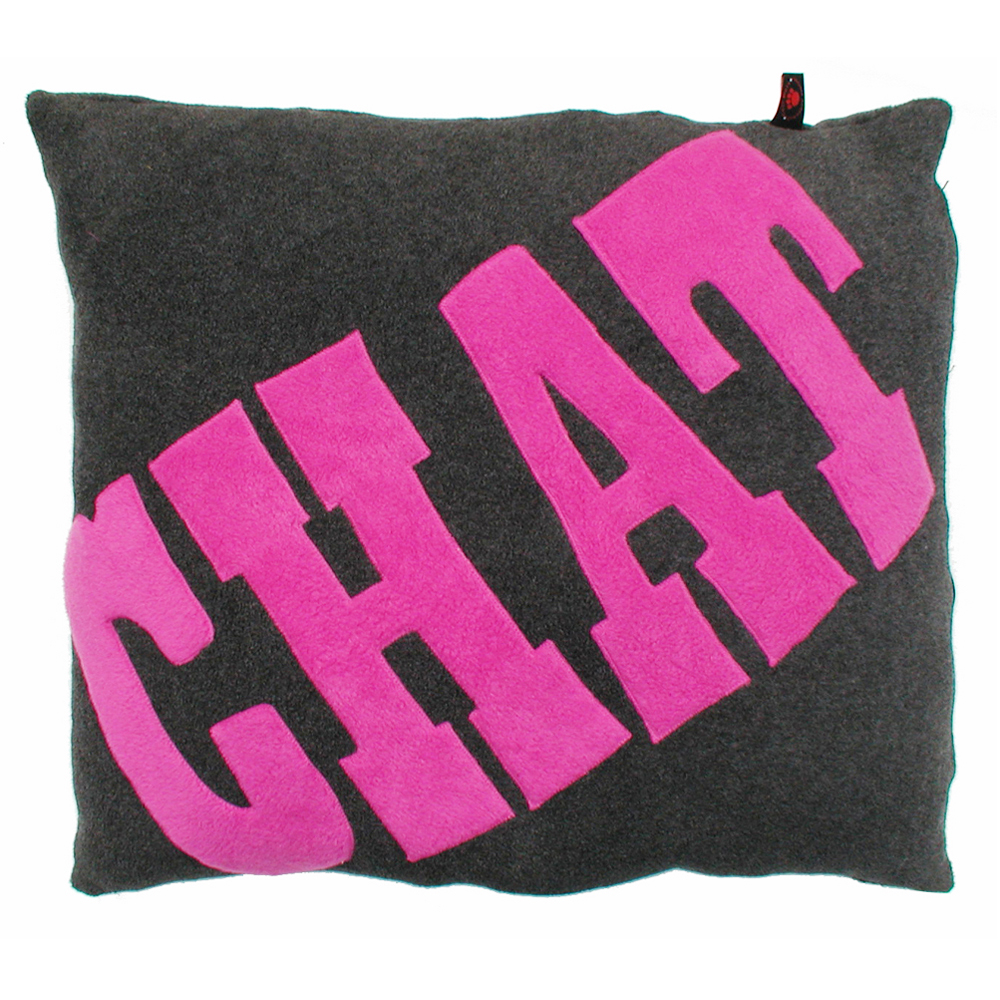 Chat Cat Nappa Pink on Grey by Creature Clothes