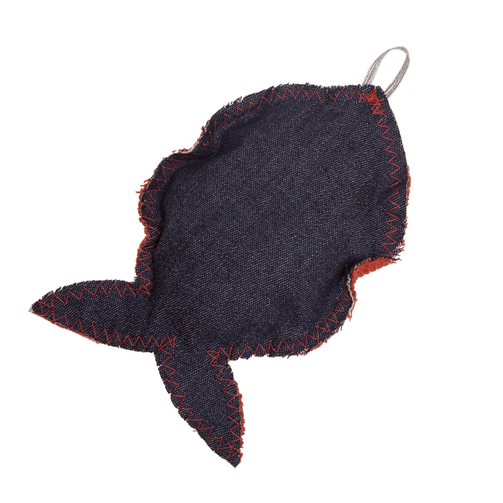 Denim and Red Fat Catnip Fish Cat Toy by Creature Clothes
