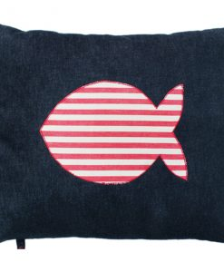Fish Cat Nappa Red & White Stripe on Denim by Creature Clothes