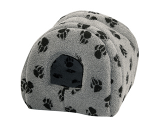 Fleece Grey and Black Cat Igloo Bed by Danish Design
