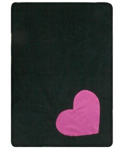 Fur Friend Fleecy Heart Cat Blanket Pink on Black