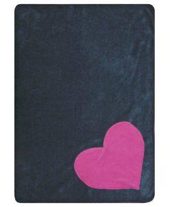 Fur Friend Fleecy Heart Cat Blanket Pink on Grey
