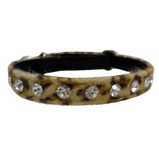 Hem and Boo Leopard Sparkle Tan Diamante Cat Collar