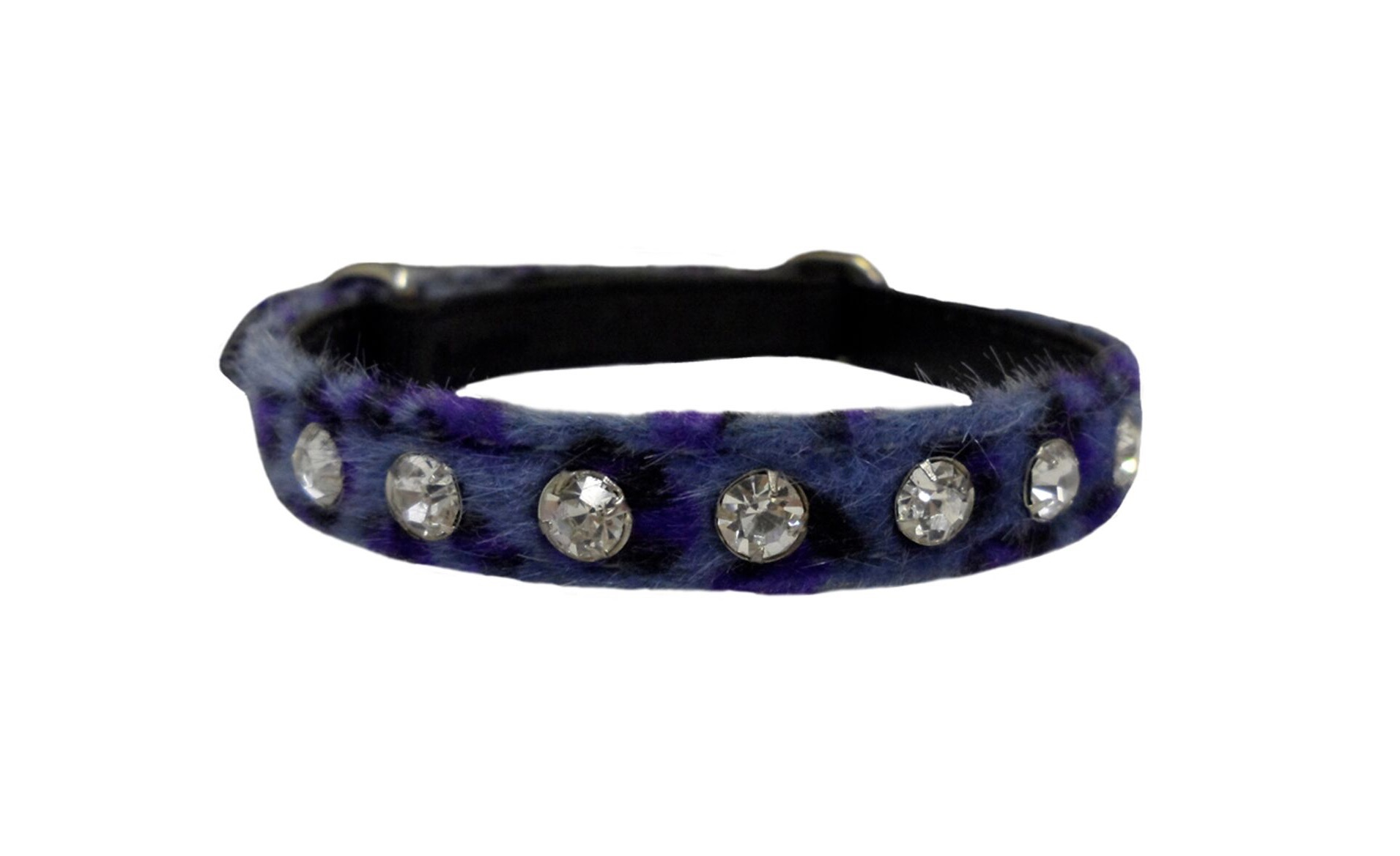 Hem and Boo Leopard Sparkle Blue Diamante Cat Collar