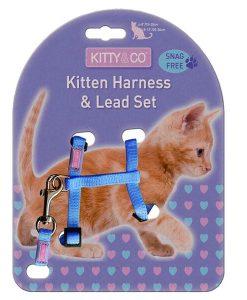 Kitty & Co Snag Free Blue Kitten Harness & Lead Set