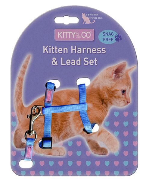 Kitty & Co Snag Free Blue Kitten Harness & Lead Set