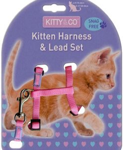 Kitty & Co Snag Free Pink Kitten Harness & Lead Set
