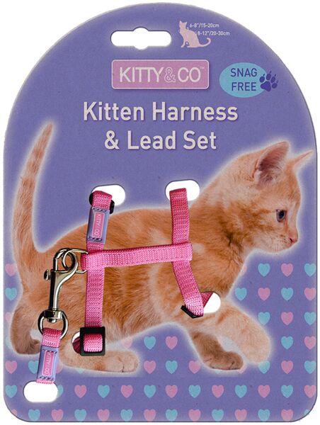 Kitty & Co Snag Free Pink Kitten Harness & Lead Set