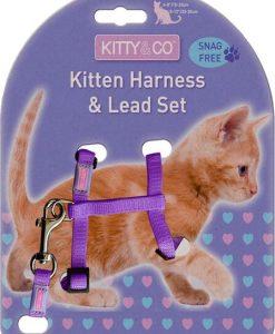 Kitty & Co Snag Free Purple Kitten Harness & Lead Set