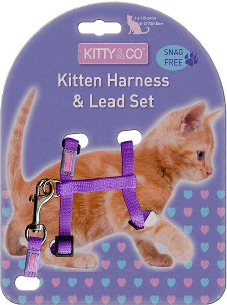 Kitty & Co Snag Free Purple Kitten Harness & Lead Set