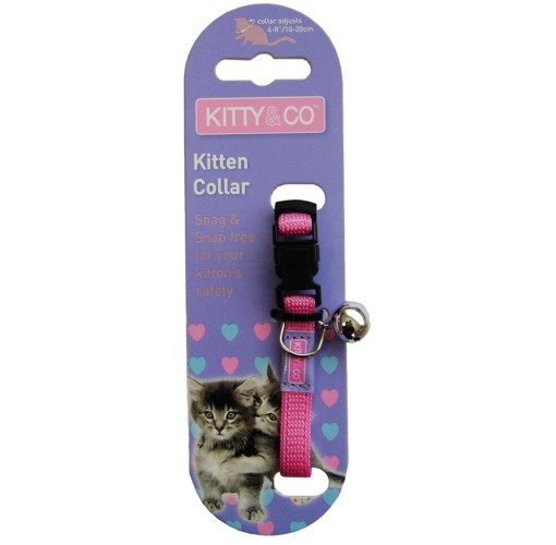 Kitty & Co Snag Free and Snap Free Pink Kitten Collar