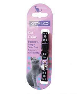 Kitty and Co Black Reflective Polka Dot Cat Collar