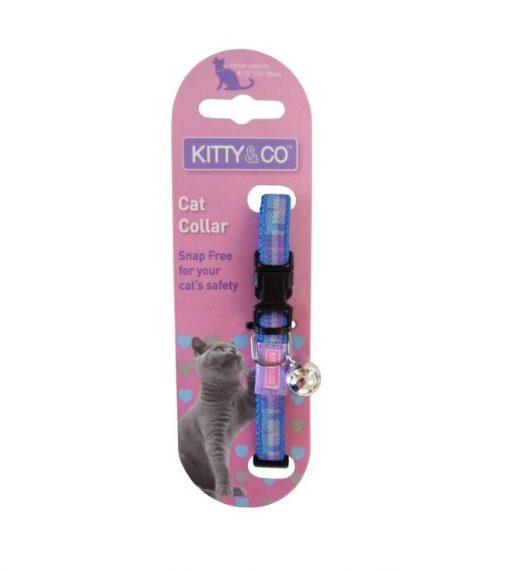 Kitty and Co Blue Tartan Cat Collar