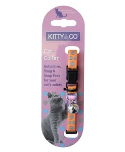 Kitty and Co Orange Reflective Polka Dot Cat Collar