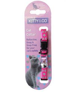Kitty and Co Pink Reflective Polka Dot Cat Collar