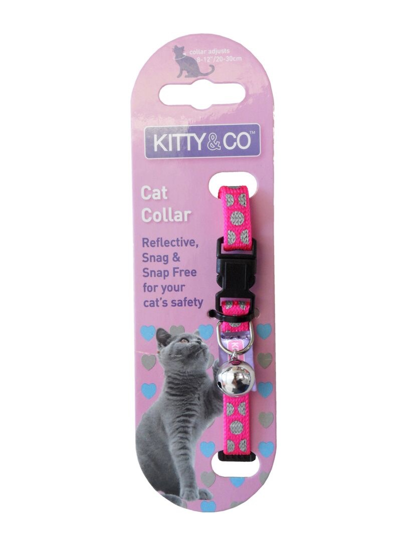 Kitty and Co Pink Reflective Polka Dot Cat Collar
