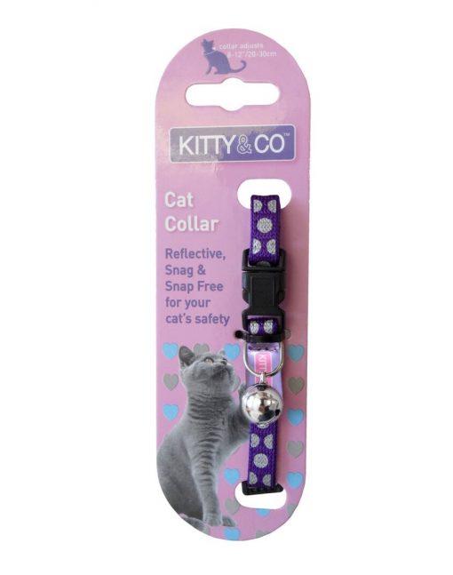 Kitty and Co Purple Reflective Polka Dot Cat Collar