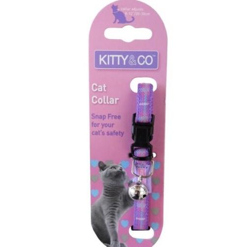 Kitty and Co Purple Tartan Cat Collar