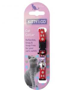 Kitty and Co Red Reflective Polka Dot Cat Collar