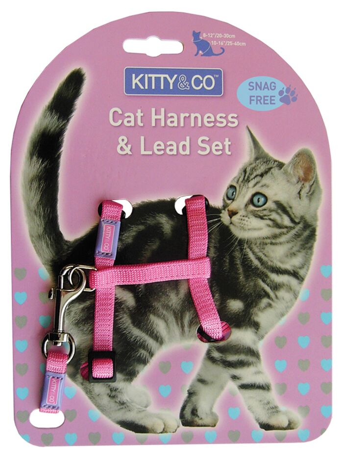 Kitty and Co Snag Free Pink Cat Harness & Lead Set