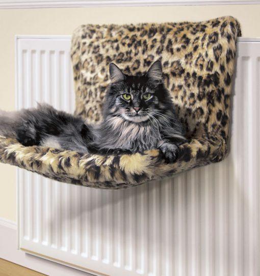 Leopard Print Kumfy Kradle Radiator Cat Bed by Danish Design