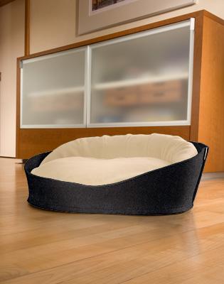 Luxury Arena Felt Fleece Cat Bed Anthracite Cream