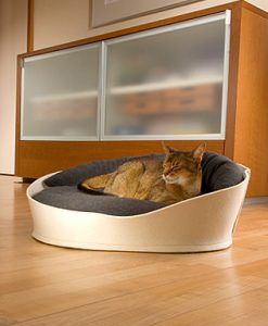 Luxury Arena Felt Fleece Cat Bed Cream Graphite