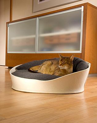Luxury Arena Felt Fleece Cat Bed Cream Graphite