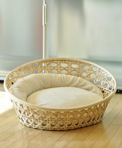 Luxury Arena Wicker Cat Basket Cream