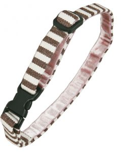 Luxury Brown and White Stripe Cat Collar by Creature Clothes