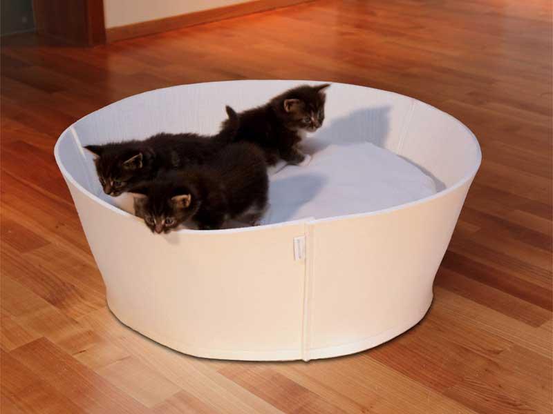 Luxury Credo Felt Cat Bed Cream Cream