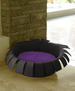 Luxury Crown Felt Cat Bed Anthracite Violet