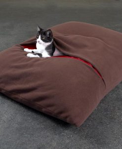Luxury Divan Due Fleece Cat Bed Brown red 2