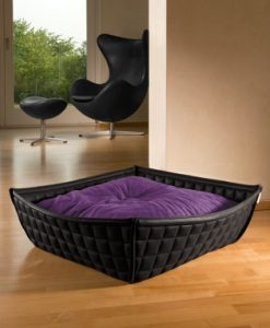 Luxury Faux Leather Bowl Cat Bed Black Violet