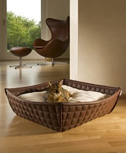 Luxury Faux Leather Bowl Cat Bed Brown Cream