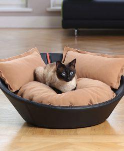 Luxury Faux Leather Mila Cat Bed Nougat Caramel 2