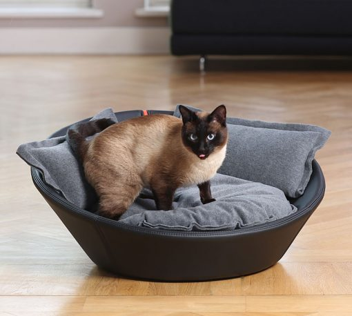 Luxury Faux Leather Mila Cat Bed Black Grey