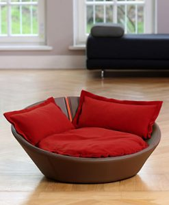 Luxury Faux Leather Mila Cat Bed Brown Red