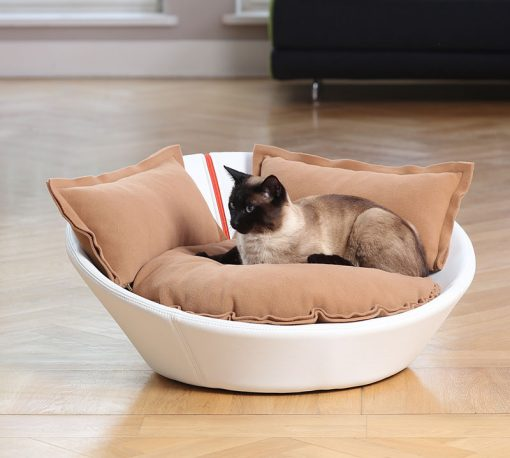 Luxury Faux Leather Mila Cat Bed White Caramel