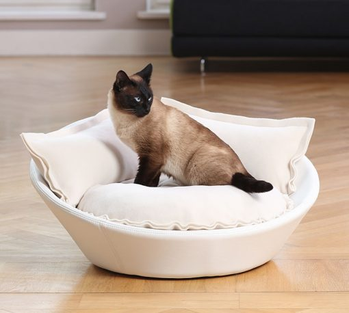 Luxury Faux Leather Mila Cat Bed White Cream