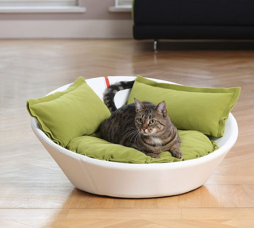 Luxury Faux Leather Mila Cat Bed White Green