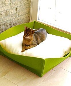 Luxury Felt Bowl Cat Bed Green Cream