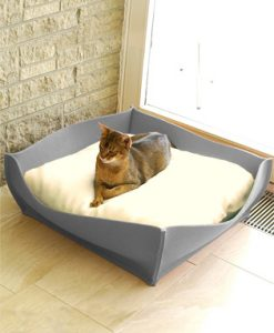 Luxury Felt Bowl Cat Bed Light Grey Cream