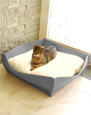Luxury Felt Bowl Cat Bed Light Grey Cream