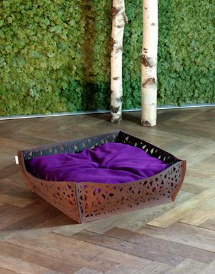 Luxury Felt Bowl Nido Cat Bed Brown Violet