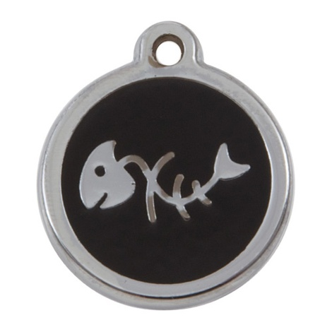 Luxury My Sweetie Black Fishbone Cat Pet ID Tag