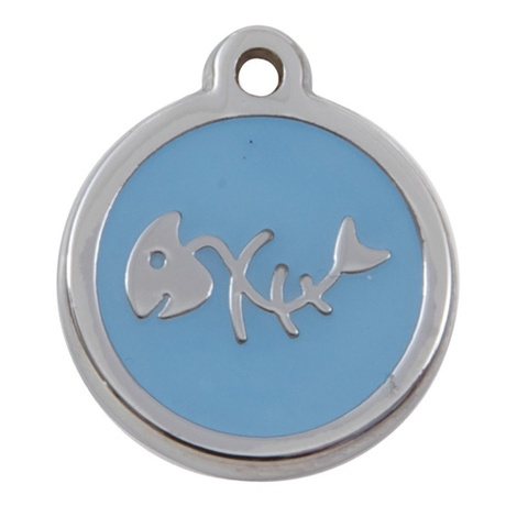 Luxury My Sweetie Light Blue Fishbone Cat Pet ID Tag