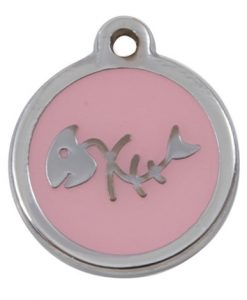 Luxury My Sweetie Light Pink Fishbone Cat Pet ID Tag