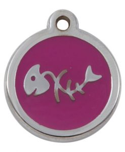 Luxury My Sweetie Pink Fishbone Cat Pet ID Tag